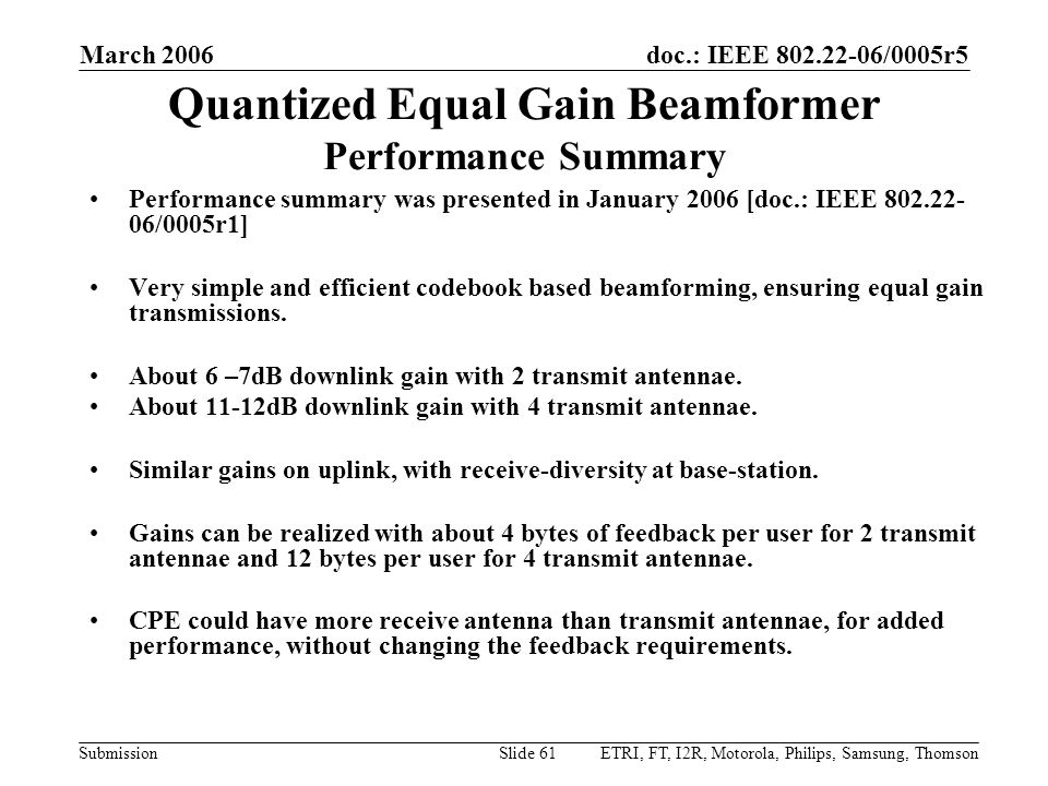 Quantized Equal Gain Beamformer Performance Summary