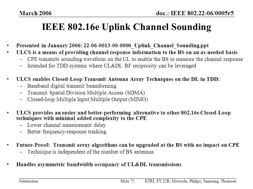 IEEE 802.16e Uplink Channel Sounding