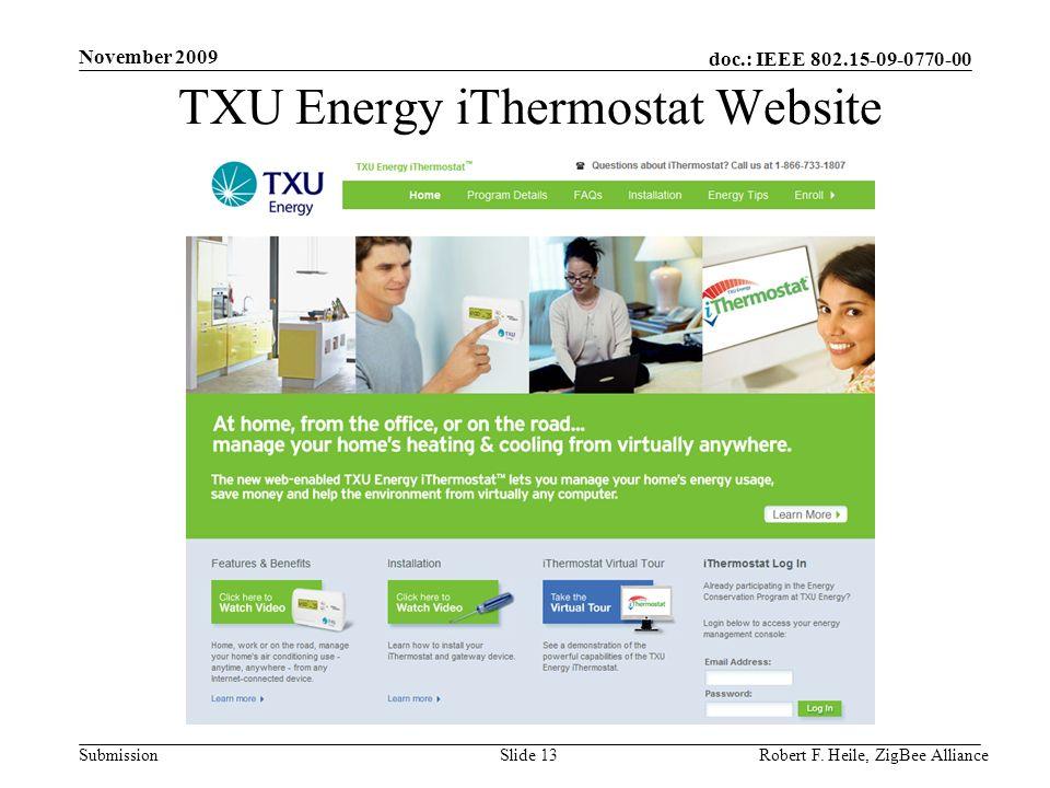 TXU Energy iThermostat Website