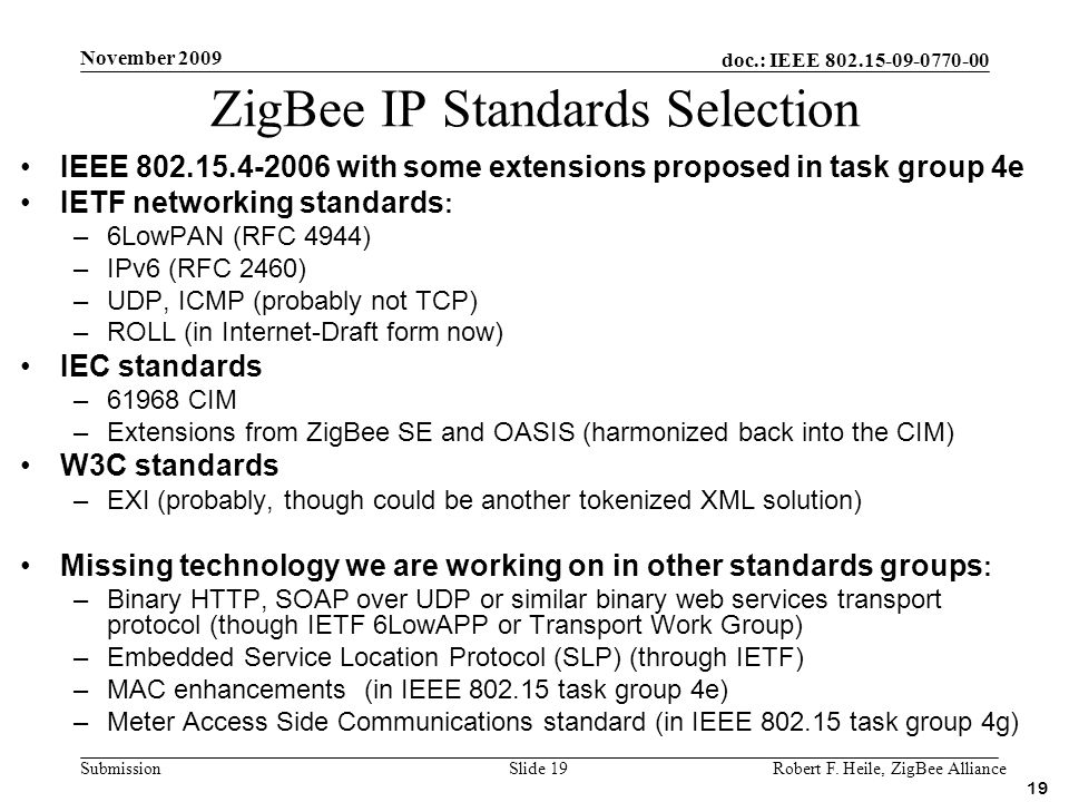 ZigBee IP Standards Selection