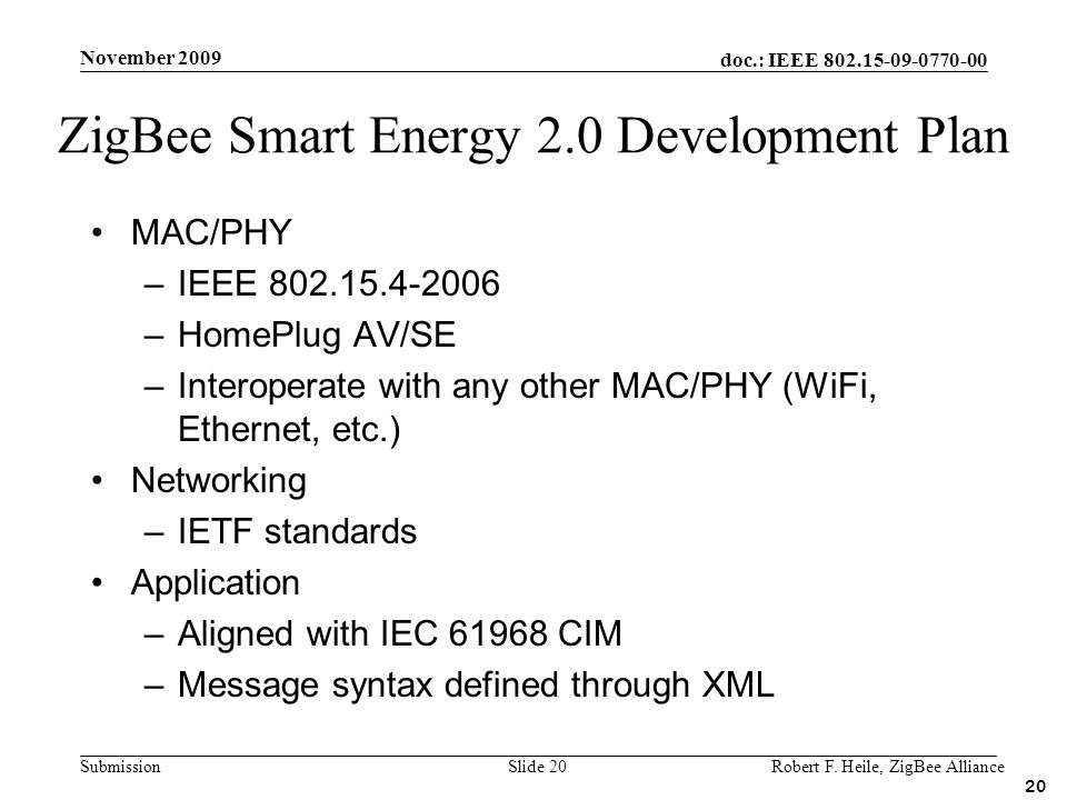 ZigBee Smart Energy 2.0 Development Plan