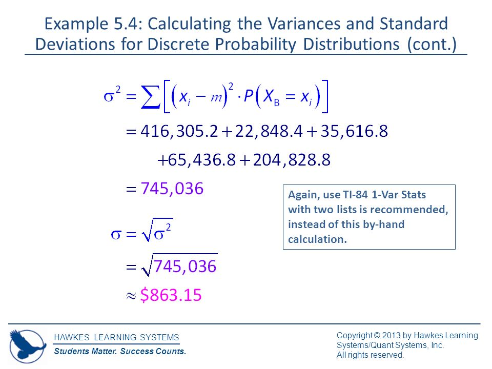 Discrete random variables ppt video online download example 54 calculating the variances and standard deviations for discrete probability distributions cont ccuart Images