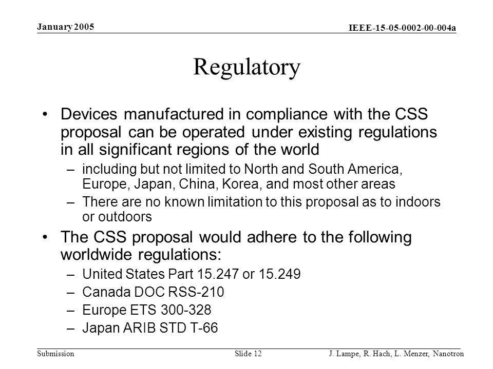 January 2005 Regulatory.