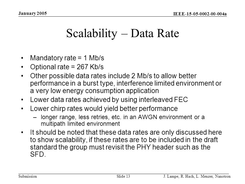 Scalability – Data Rate