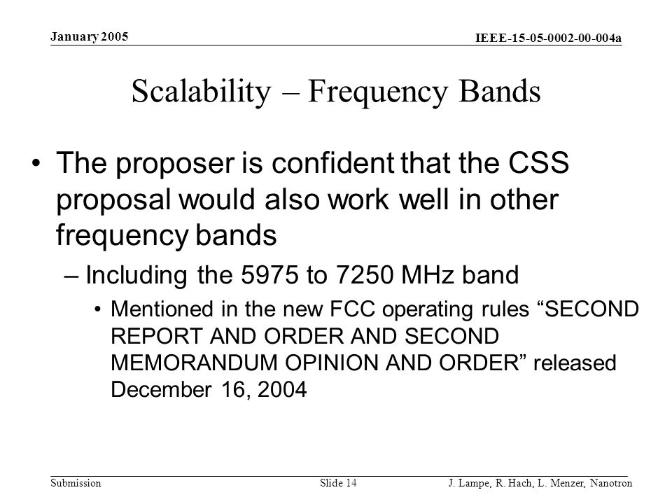 Scalability – Frequency Bands
