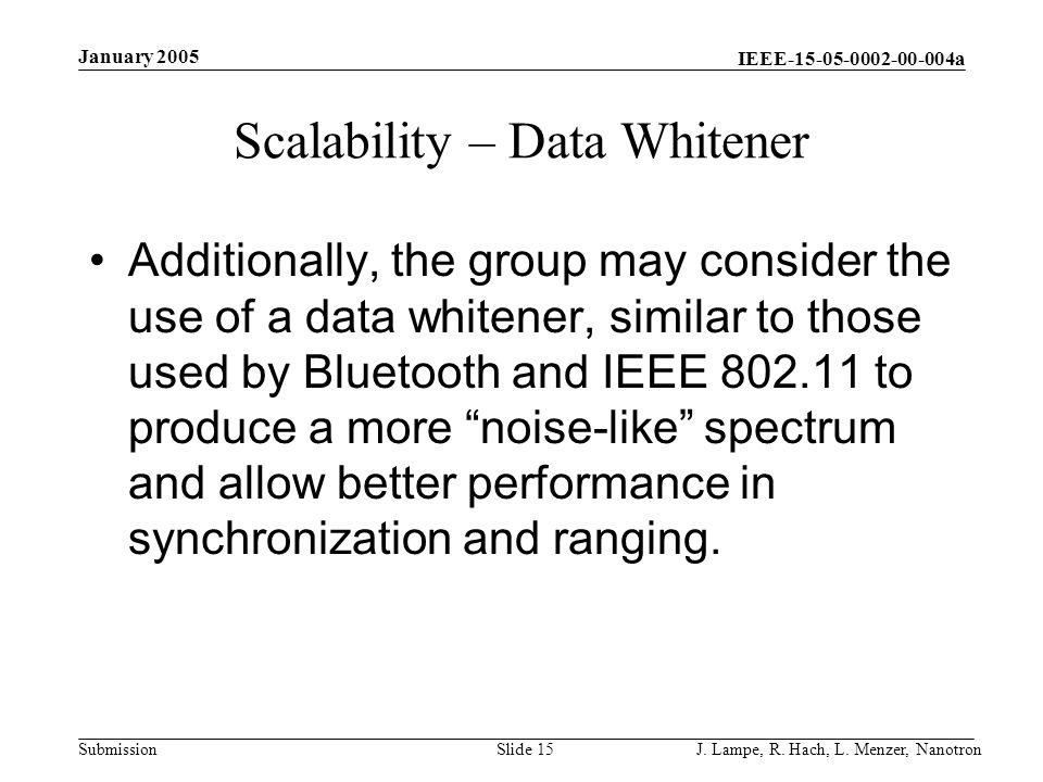 Scalability – Data Whitener