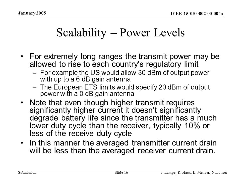 Scalability – Power Levels