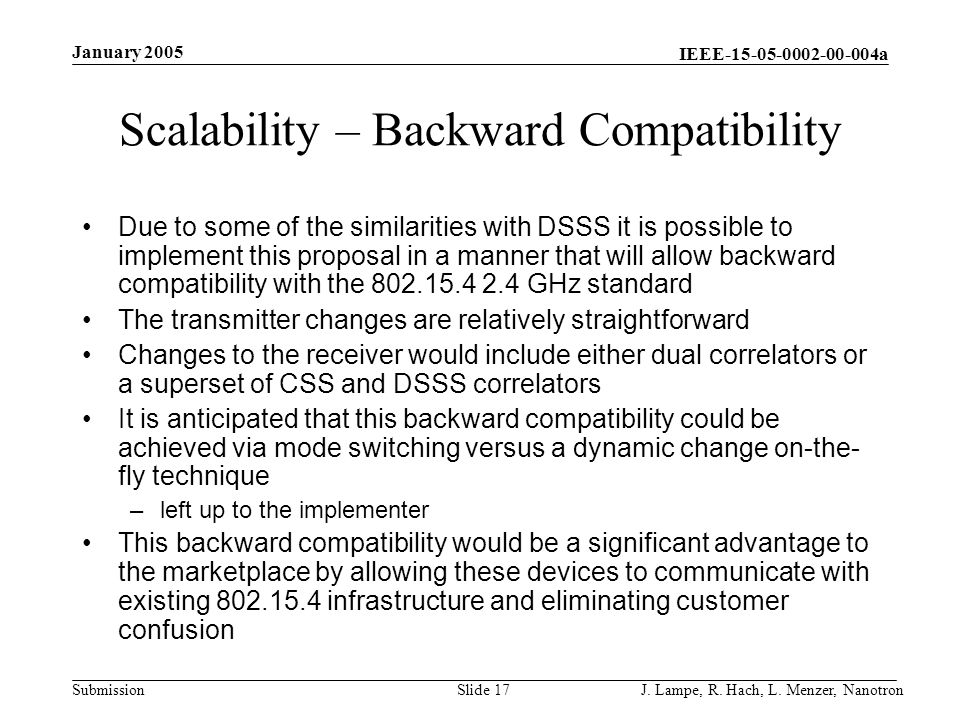 Scalability – Backward Compatibility