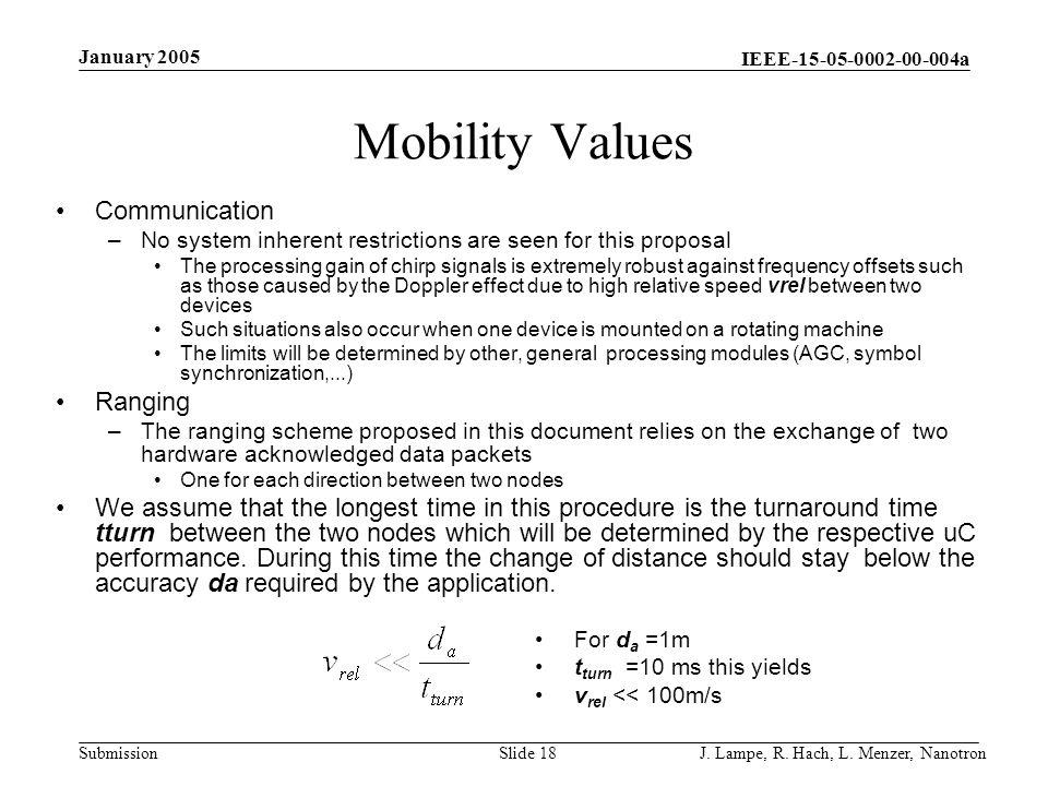 Mobility Values Communication Ranging