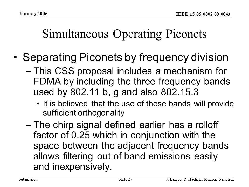 Simultaneous Operating Piconets