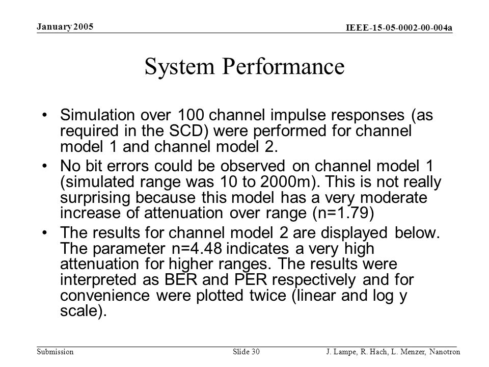 January 2005 System Performance.