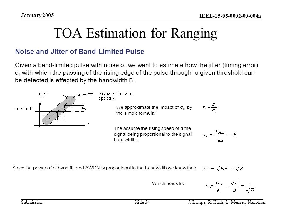 TOA Estimation for Ranging