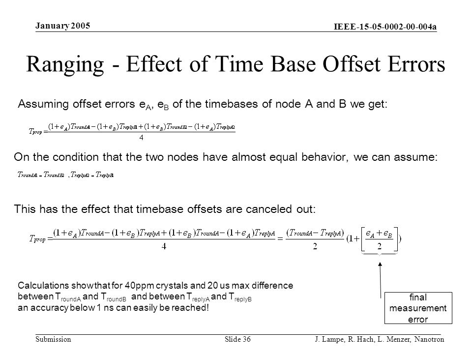 Ranging - Effect of Time Base Offset Errors