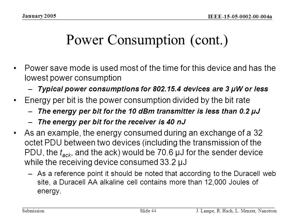 Power Consumption (cont.)