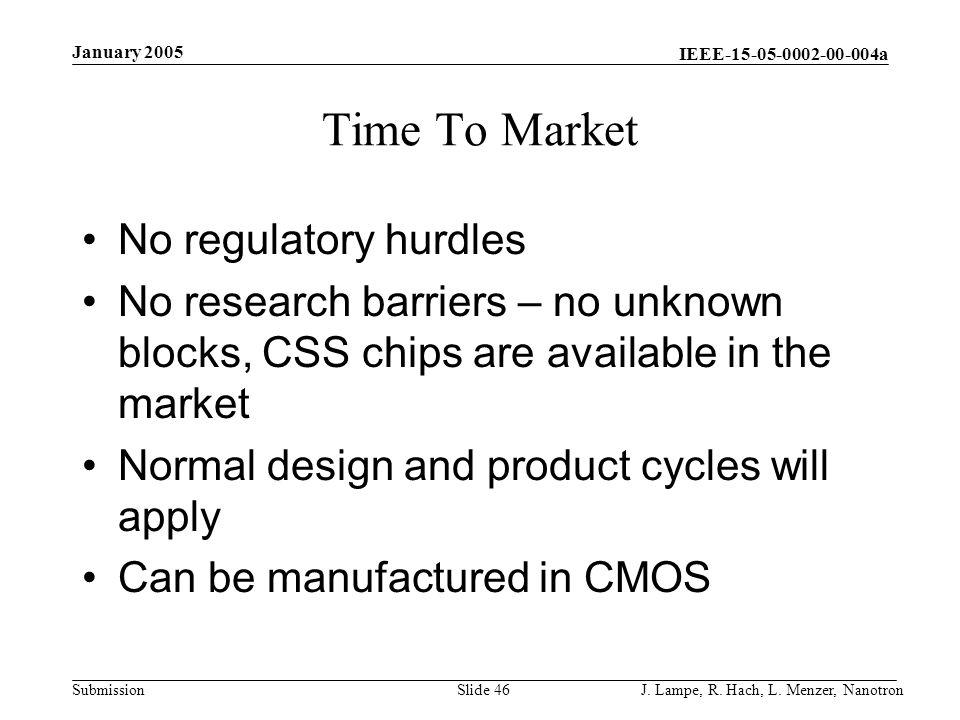 Time To Market No regulatory hurdles