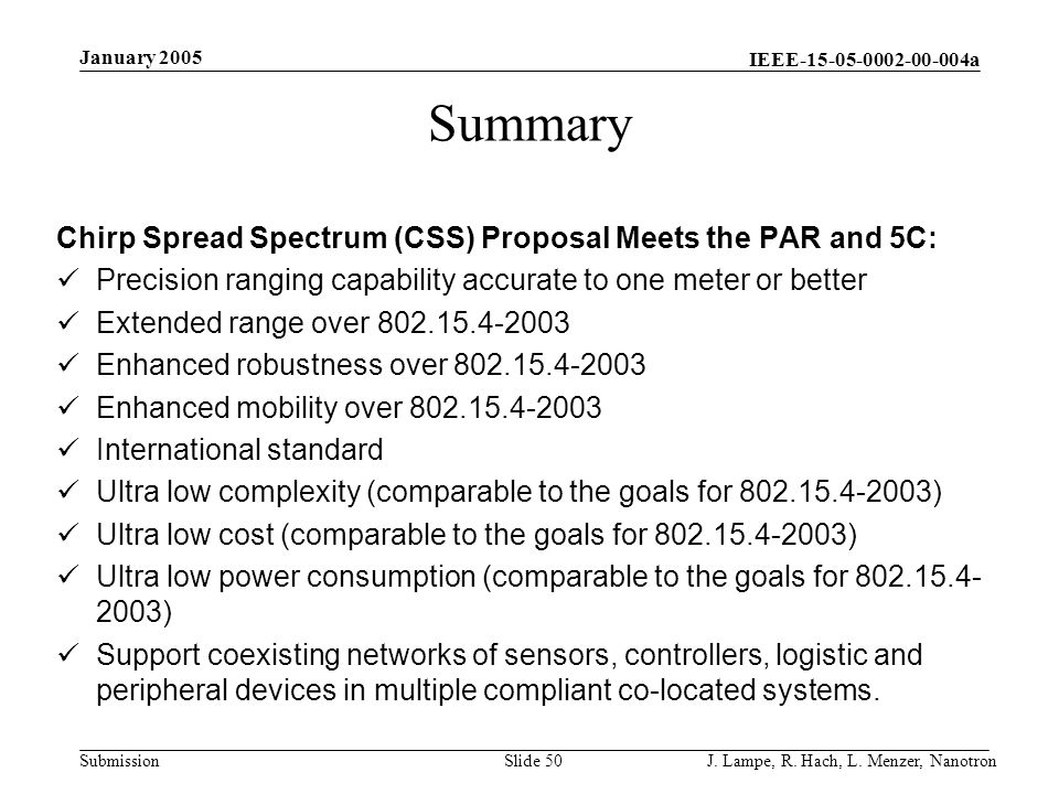 Summary Chirp Spread Spectrum (CSS) Proposal Meets the PAR and 5C: