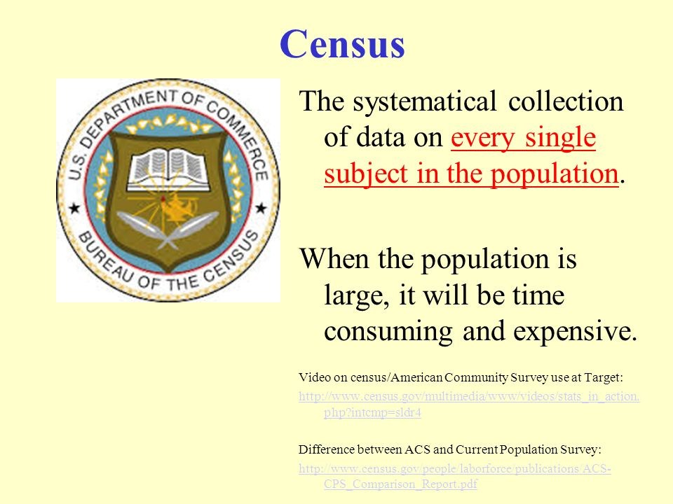 Census The systematical collection of data on every single subject in the population.