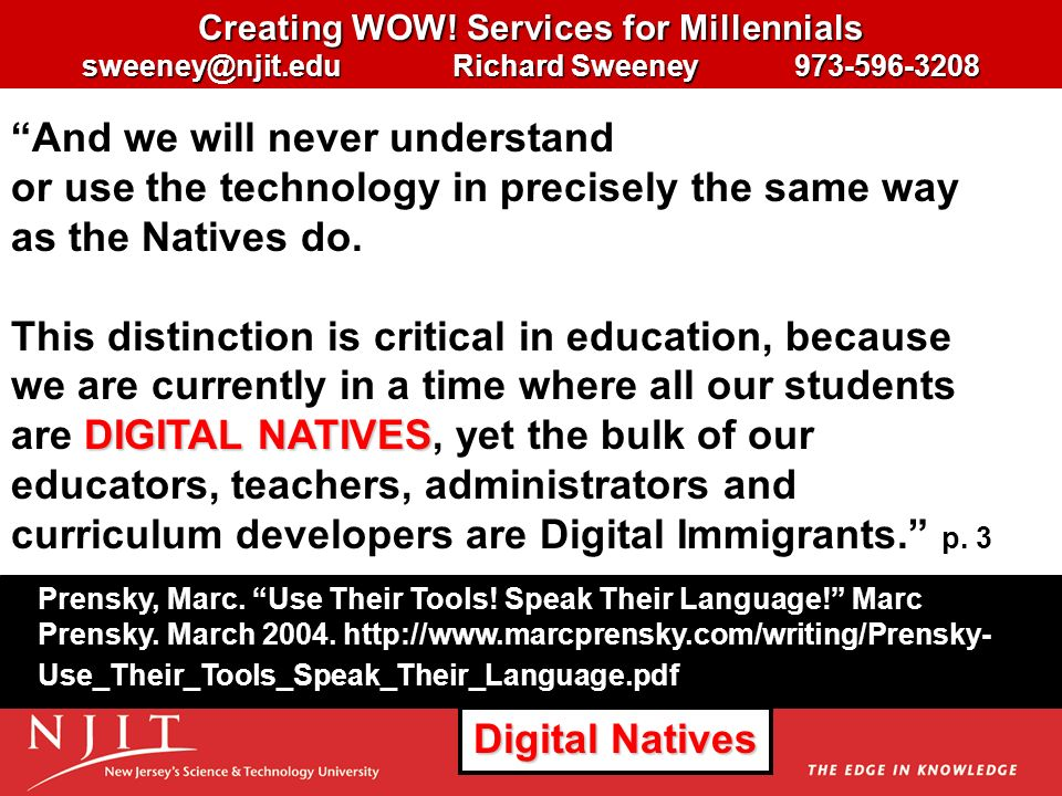 Creating WOW! Services for Millennials