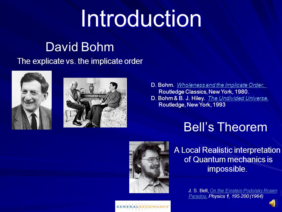 Introduction David Bohm Bell's Theorem