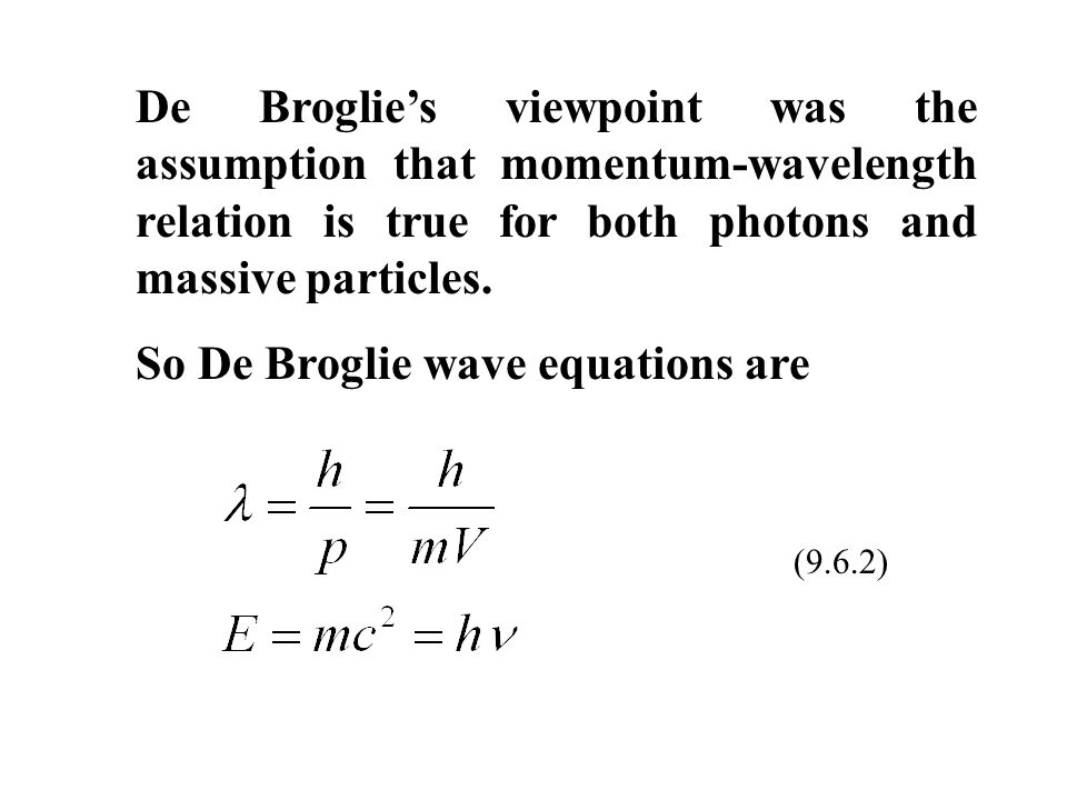 de broglie momentum and wavelength relationship