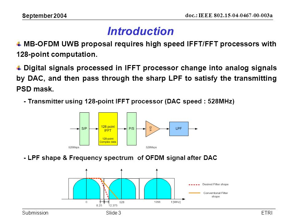 September 2004 Introduction. MB-OFDM UWB proposal requires high speed IFFT/FFT processors with 128-point computation.