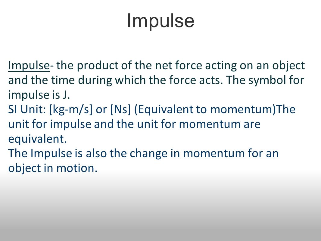 Momentum impulse work power ppt video online download the impulse is also the change in momentum for an object in motion biocorpaavc Images