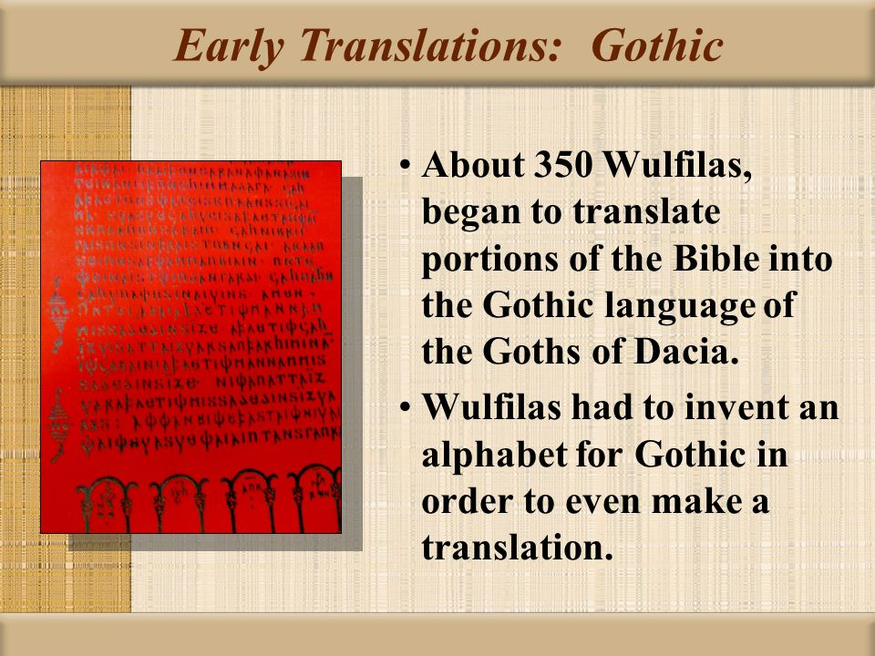 the translation of the bible Although translations of parts of the bible into anglo-saxon existed hundreds of years before wycliffe's translation, john wycliffe is credited as being the first translation of the entire bible (both old and new testaments) into english.