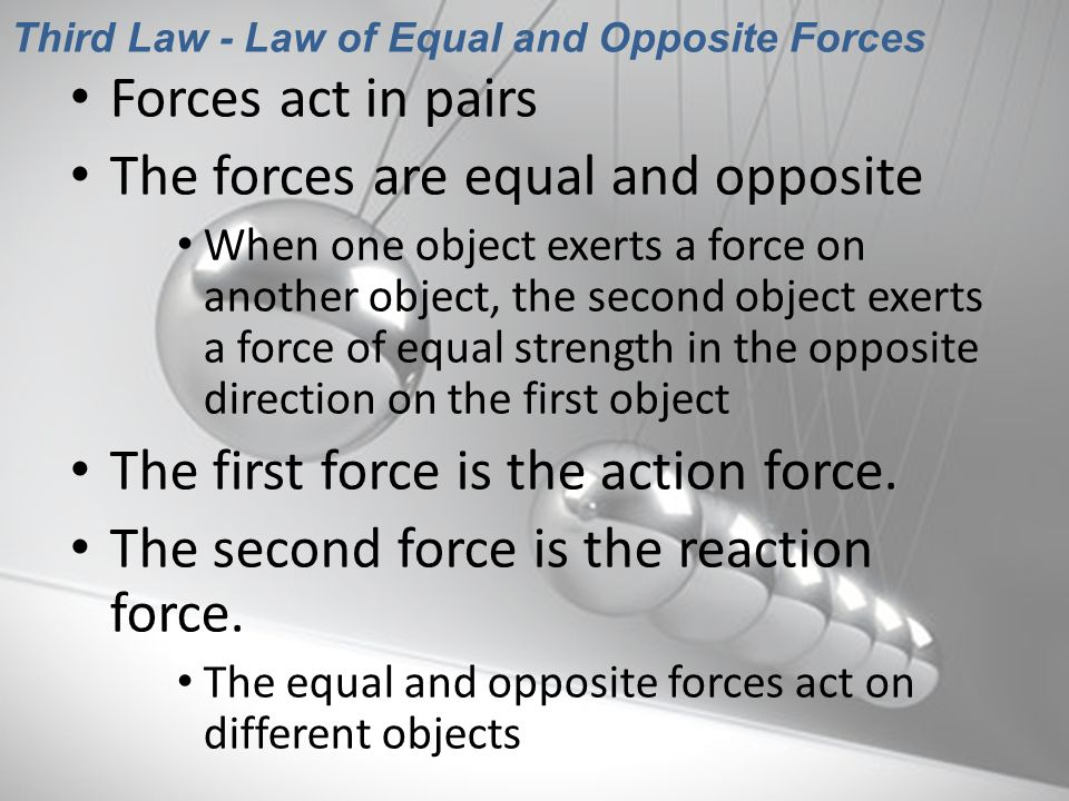 Third Law - Law of Equal and Opposite Forces
