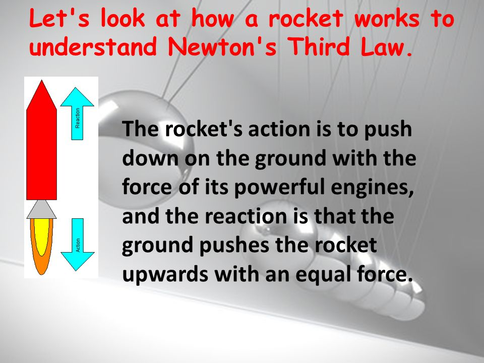 Let s look at how a rocket works to understand Newton s Third Law.