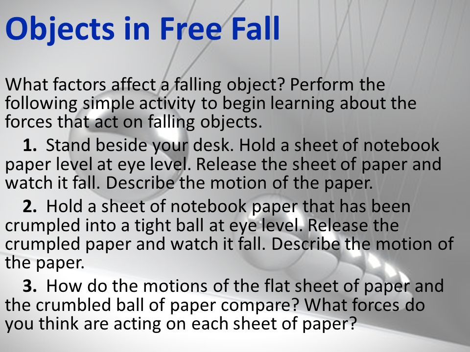 Objects in Free Fall