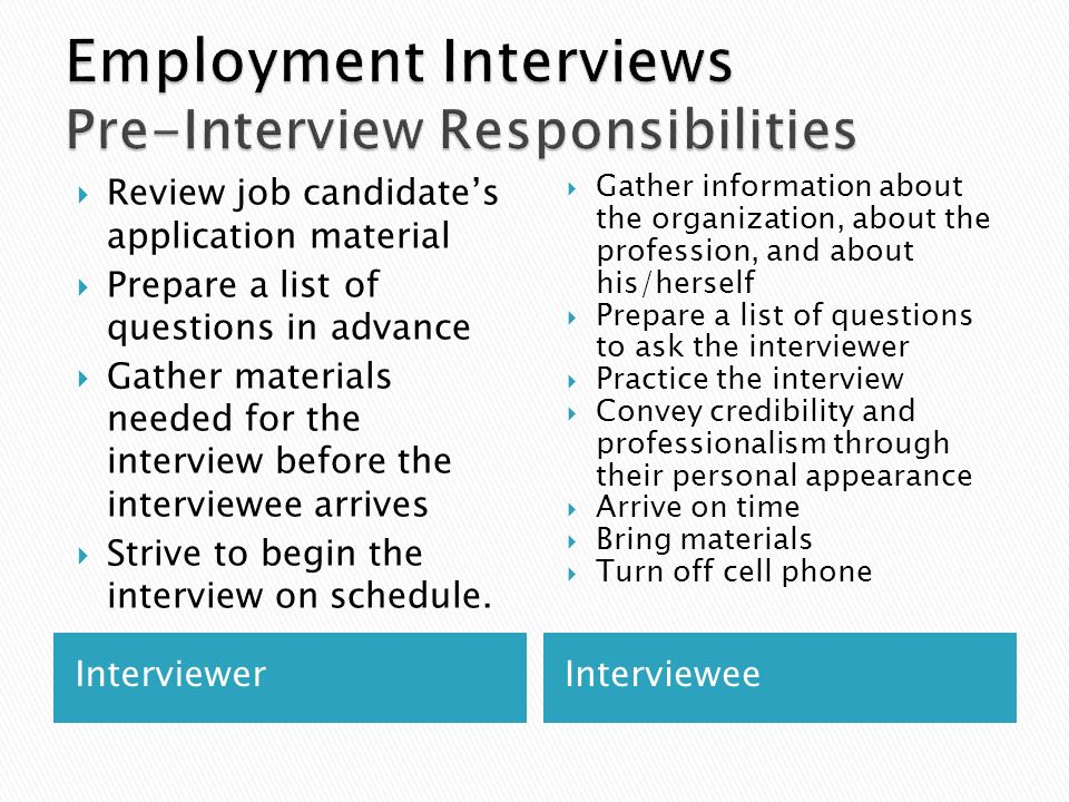 employment interviews pre interview responsibilities - Pre Interview Questions To Ask Before An Interview