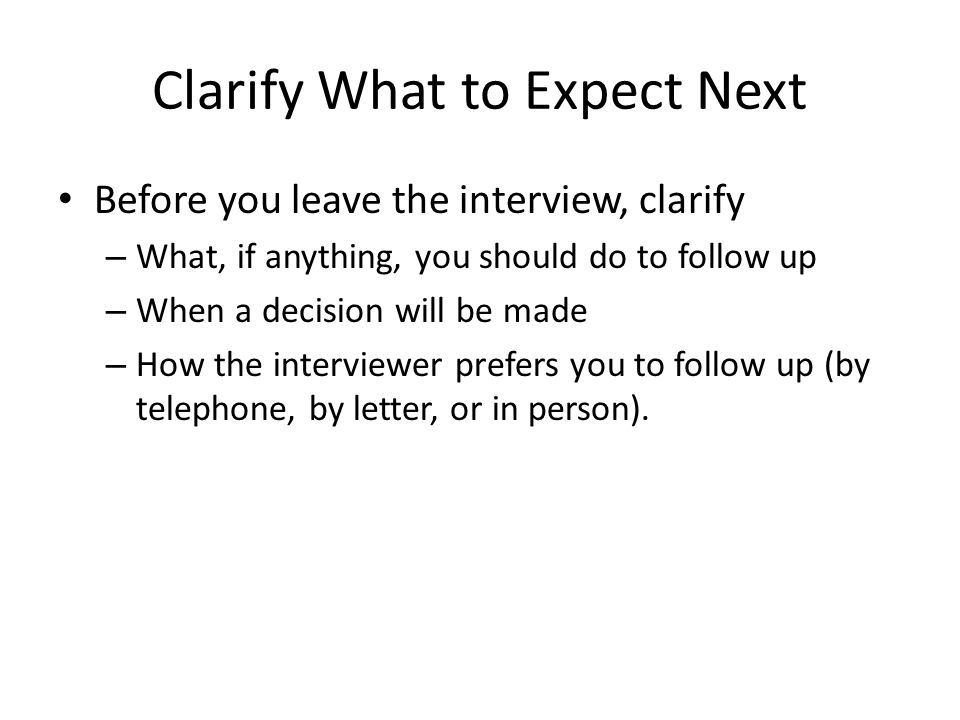 follow up on the interview