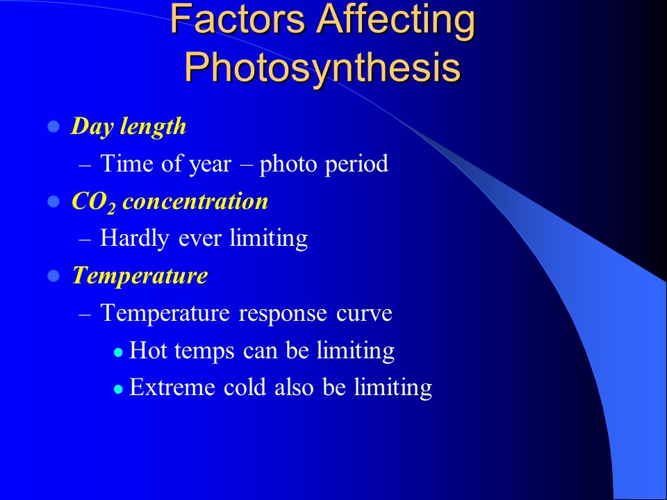 what factors limit photosynthesis Ap biology photosynthesis lab essential question: what factors affect the rate of photosynthesis in living leaves background living systems require free energy.