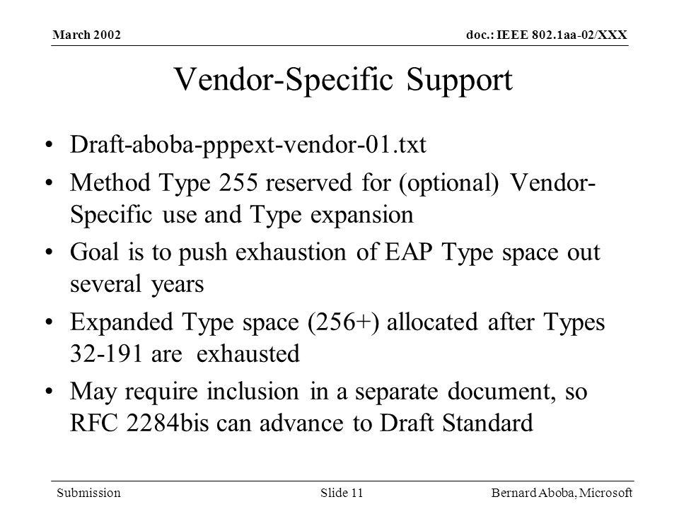 Vendor-Specific Support