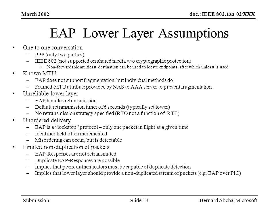 EAP Lower Layer Assumptions