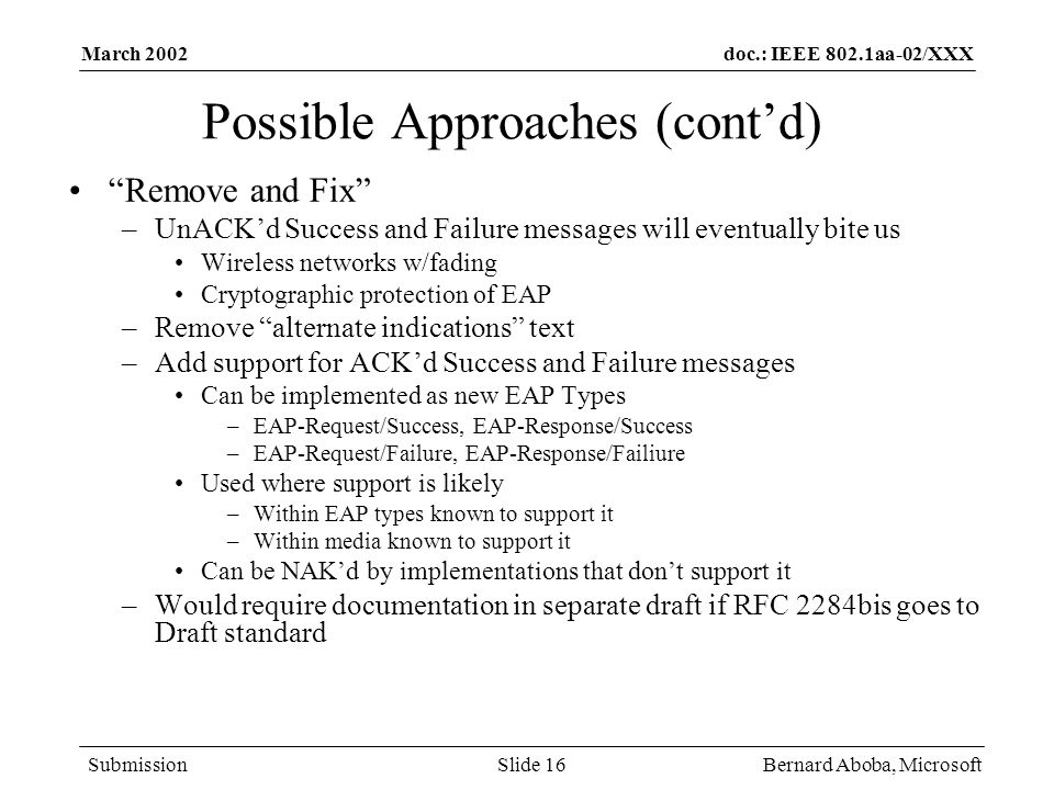 Possible Approaches (cont'd)