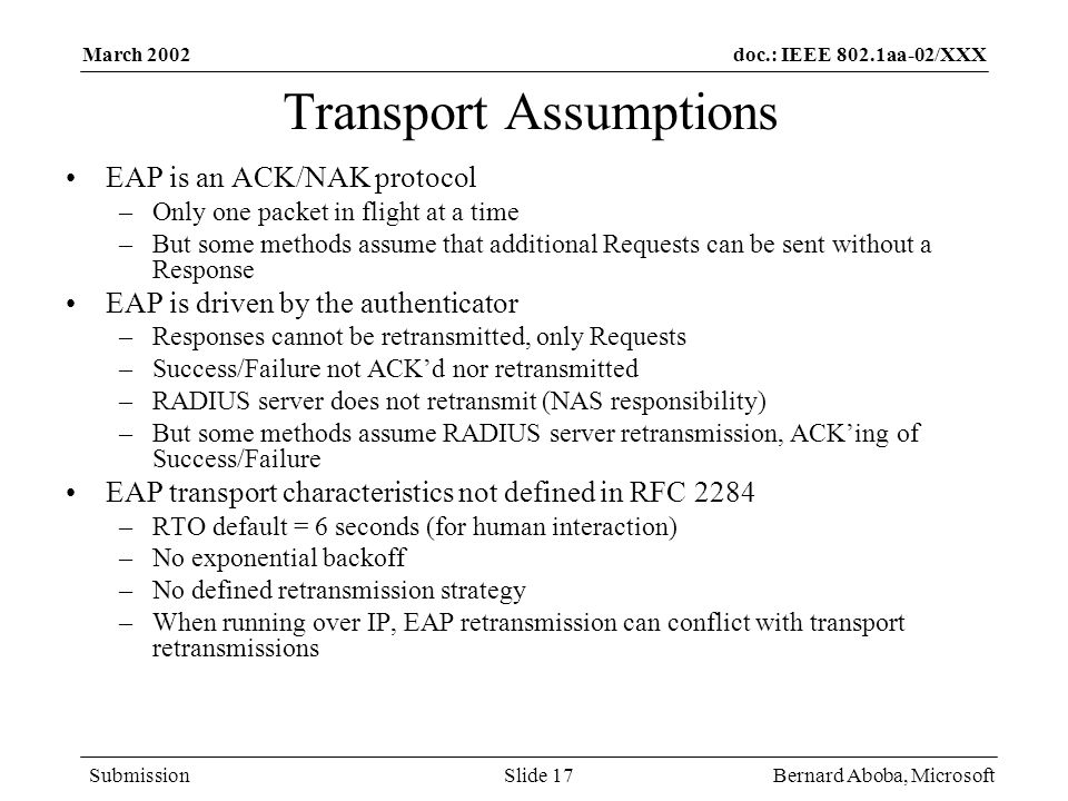 Transport Assumptions