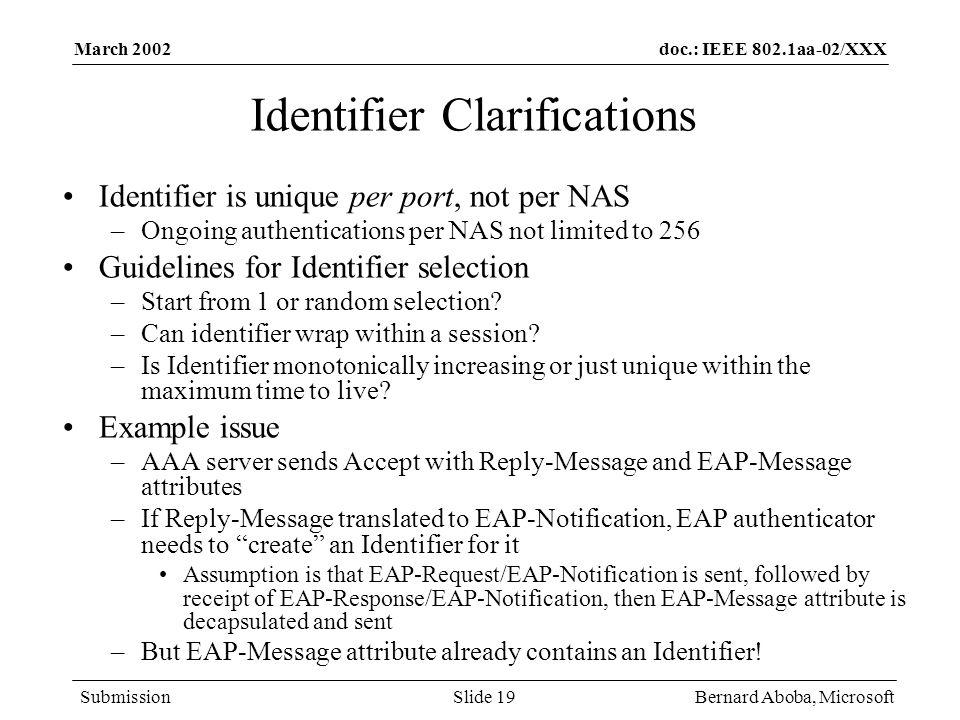 Identifier Clarifications