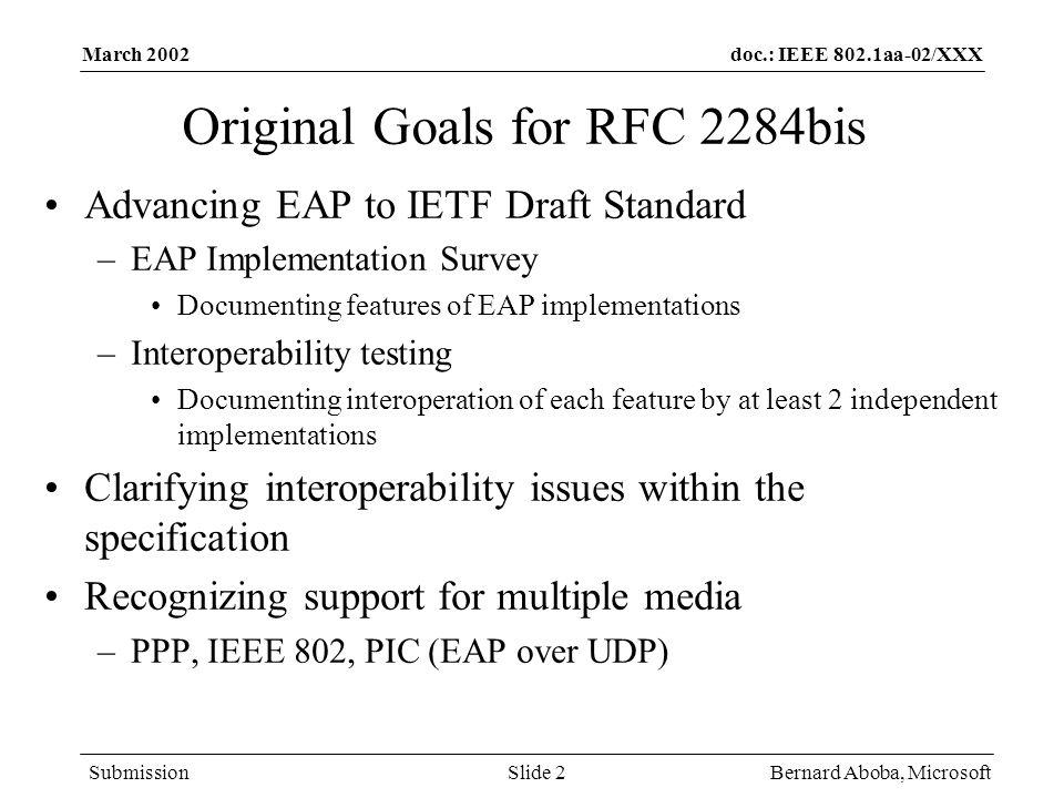 Original Goals for RFC 2284bis