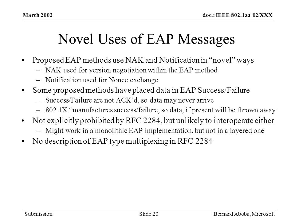 Novel Uses of EAP Messages