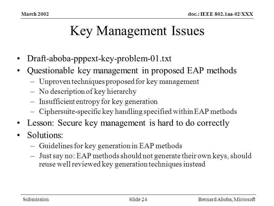 Key Management Issues Draft-aboba-pppext-key-problem-01.txt