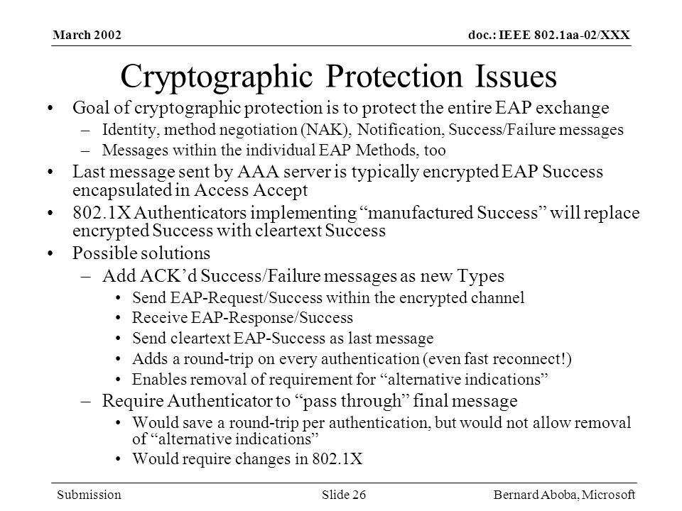 Cryptographic Protection Issues