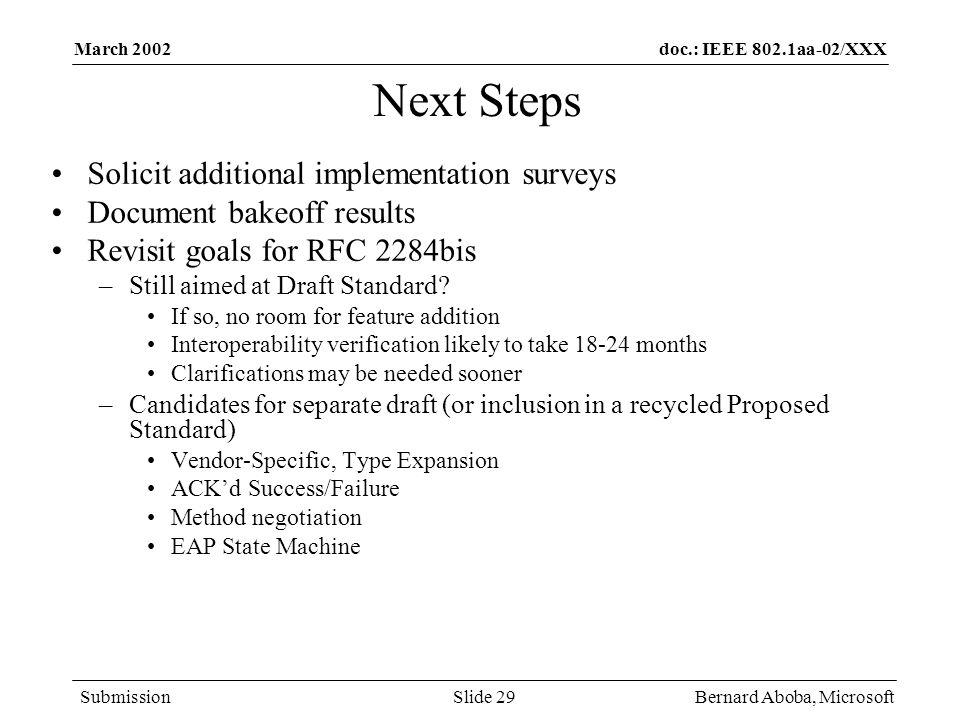 Next Steps Solicit additional implementation surveys