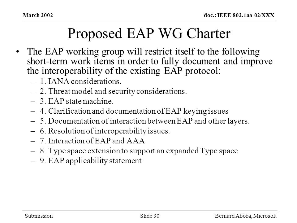 Proposed EAP WG Charter