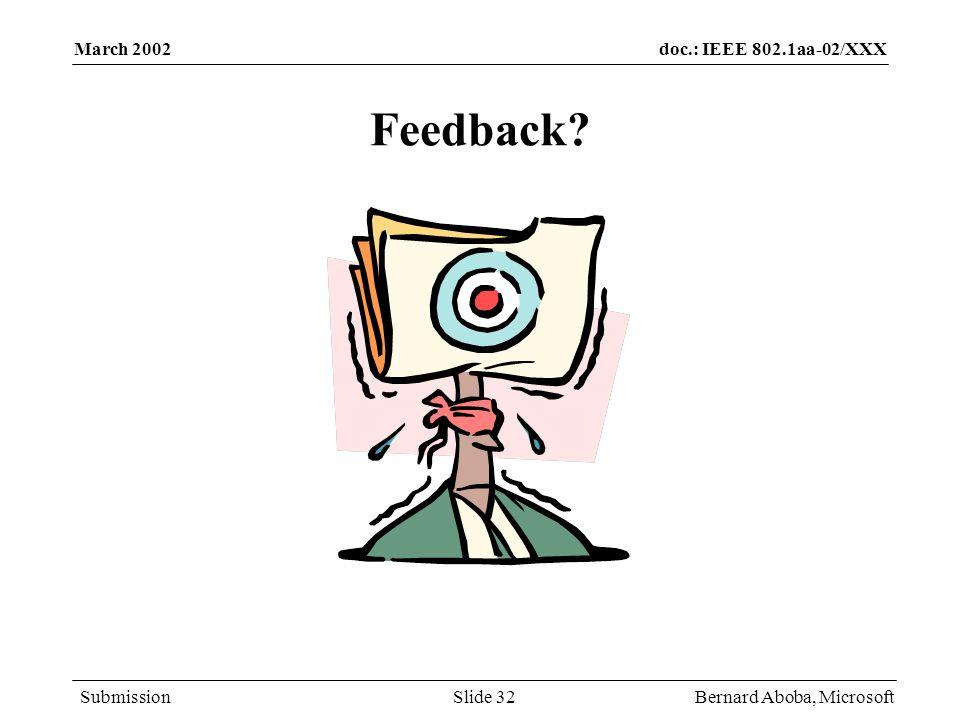 March 2002 Feedback Bernard Aboba, Microsoft