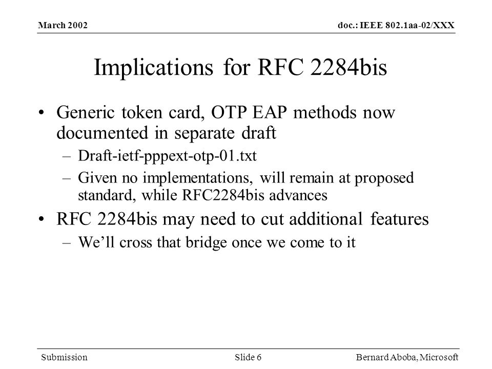 Implications for RFC 2284bis