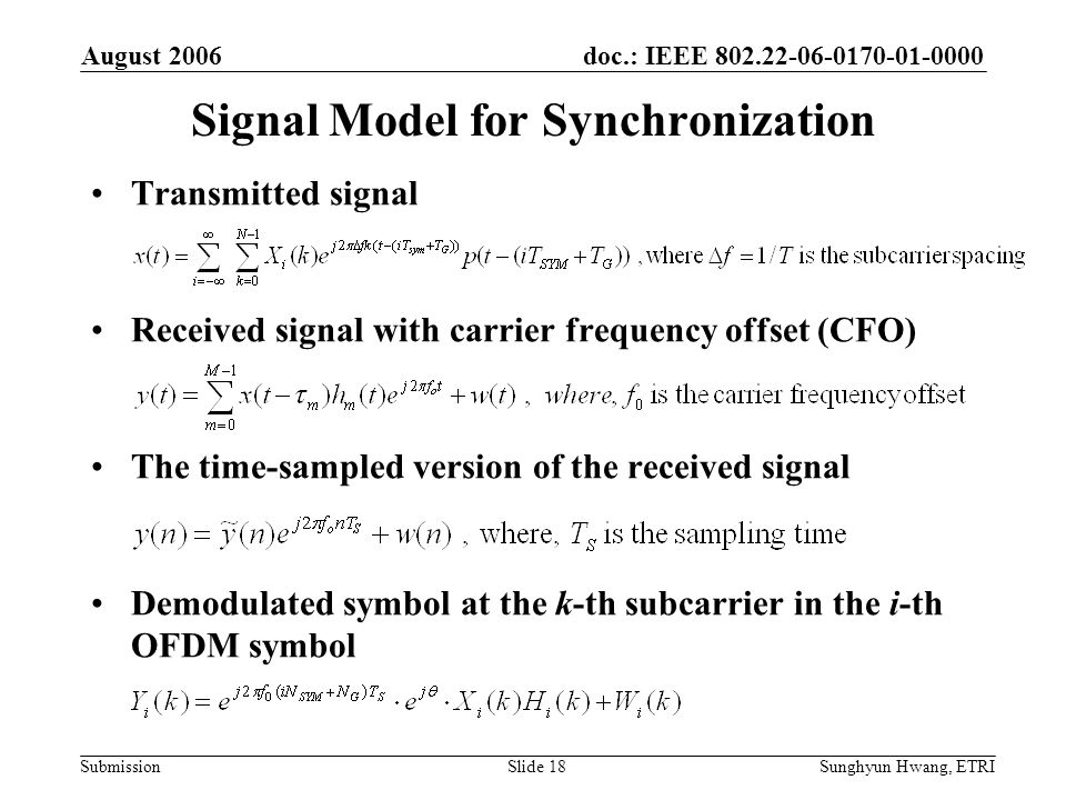 Signal Model for Synchronization