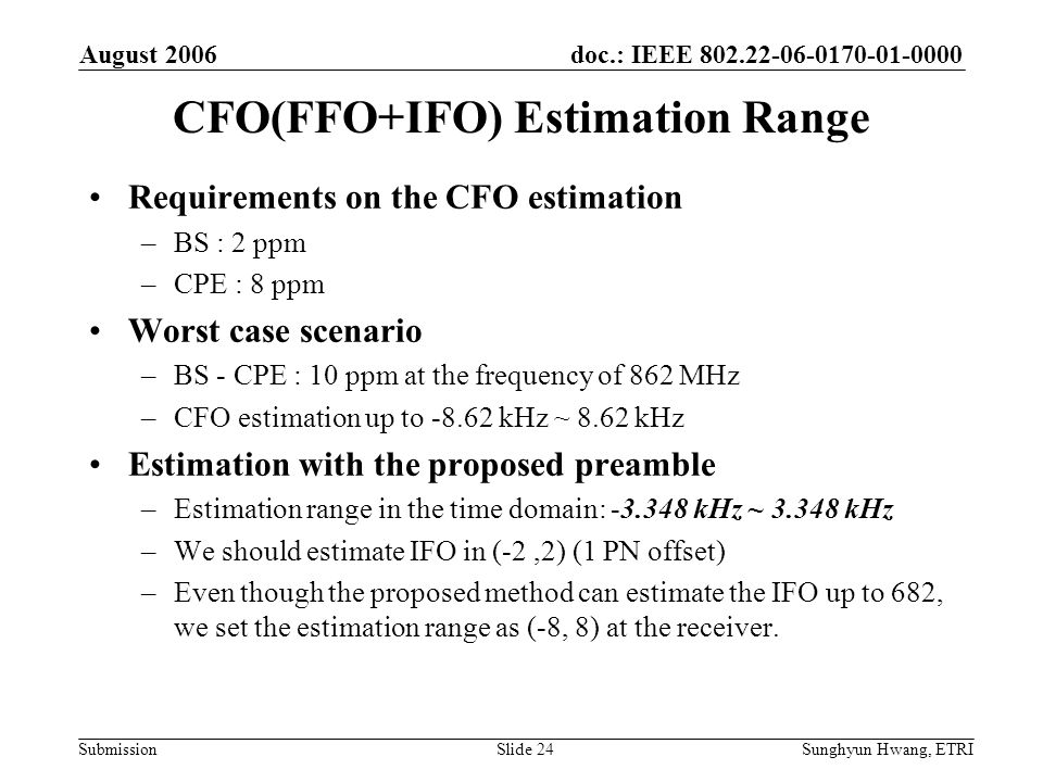 CFO(FFO+IFO) Estimation Range