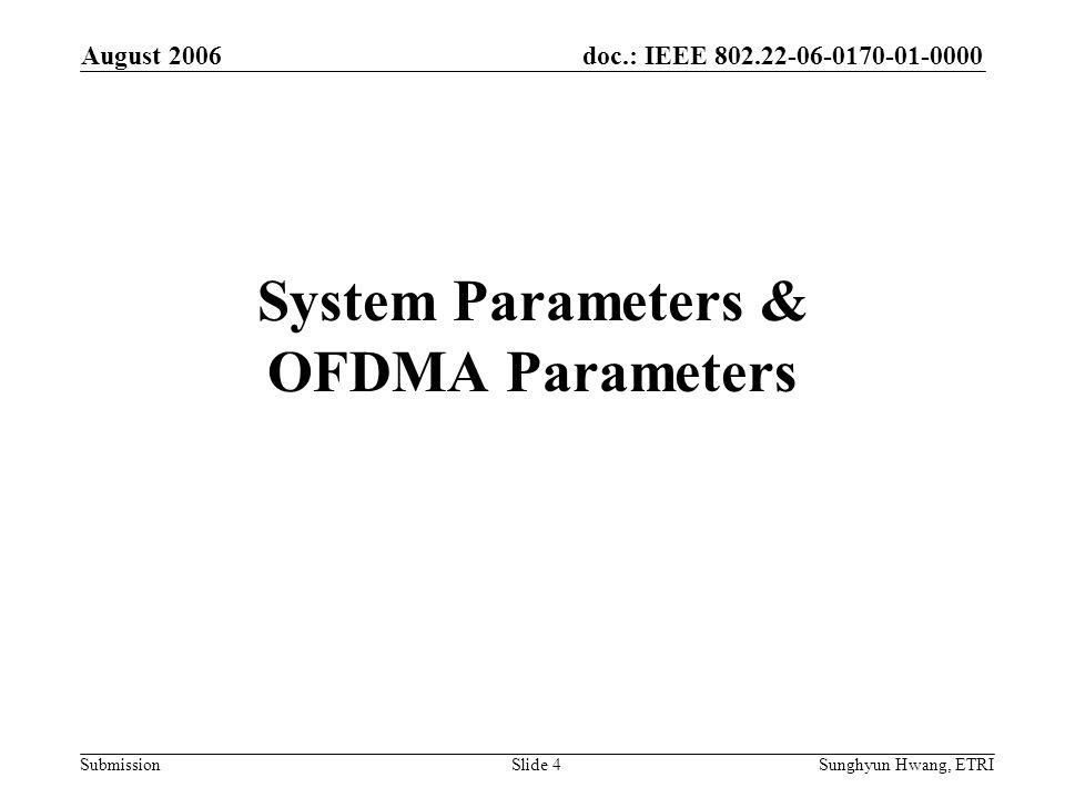 System Parameters & OFDMA Parameters