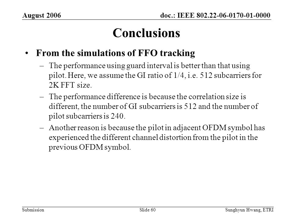 Conclusions From the simulations of FFO tracking